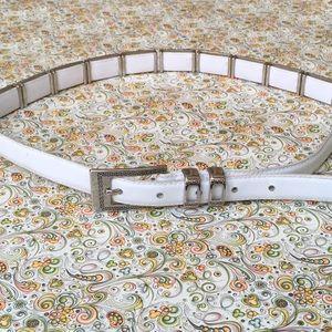 White Leather Embellished Belt.